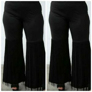 Black Fringe Pants Plus Size